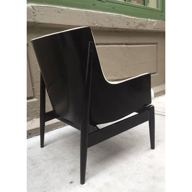 James Wiener for Kodawood lounge chair with black lacquered frame and off-white linen blend upholstery.