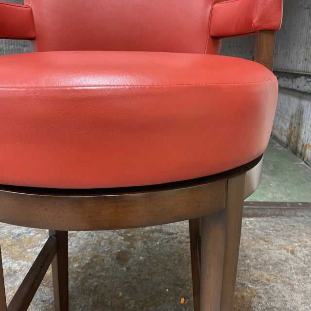 Red Wheeler Design Group Custom Leather Swivel Bar Stools - a Pair For Sale - Image 8 of 11