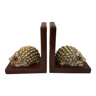 Mid-Century Modern Hedgehog Bookends - A Pair