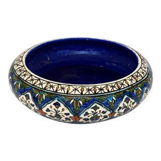 Antique Kütahya Ceramic Bowl With Lapis Blue Center For Sale