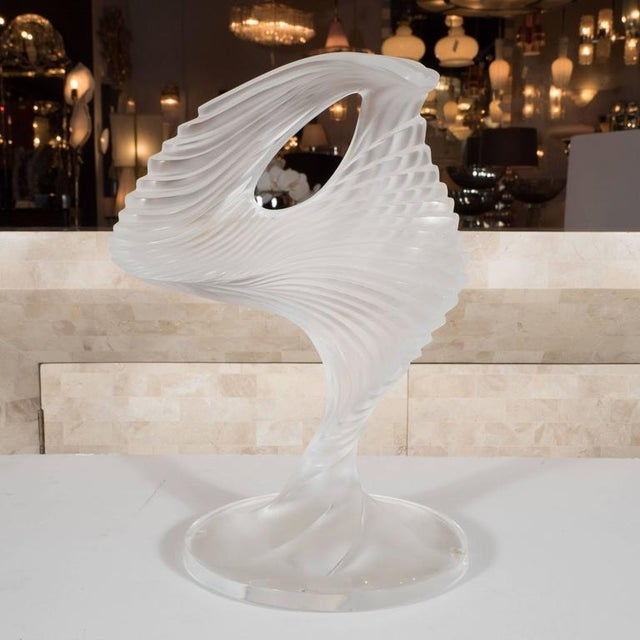 """Transparent Lalique """"Trophee"""" Sculpture in Frosted Clear Crystal, France, circa 1995 For Sale - Image 8 of 10"""