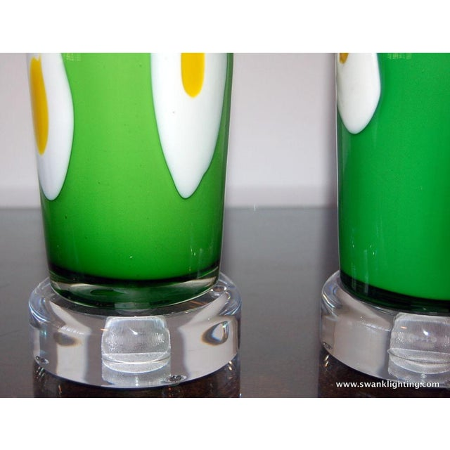 Brass Vintage Murano Glass Table Lamps Green Yellow For Sale - Image 7 of 8