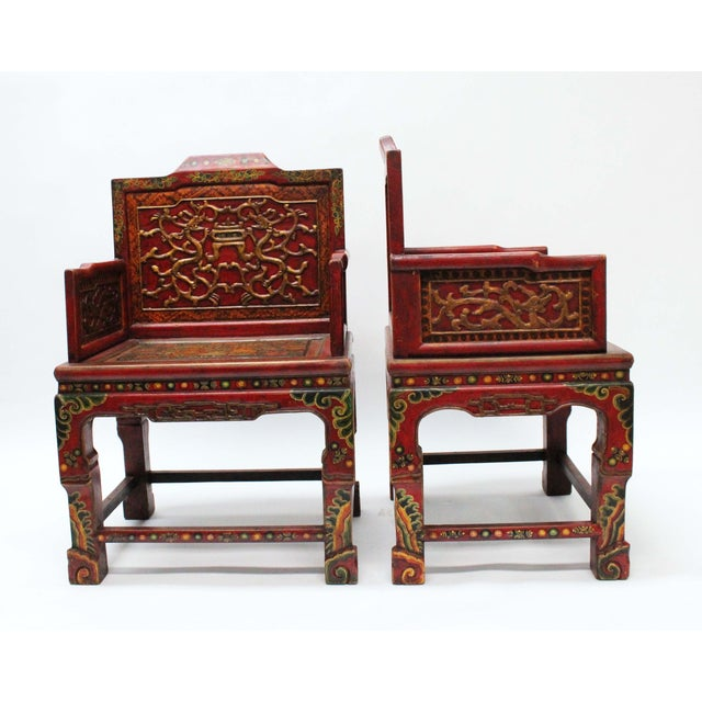 Vintage Tibetan Hand-Painted Chairs - A Pair For Sale - Image 4 of 7