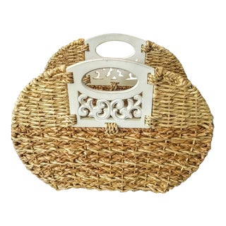 Woven Banana Leaf and Wood Handle Oval Magazine Rack Stand For Sale