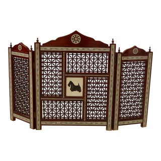 Moroccan Mother of Pearl Inlaid Tri Fold Screen With Schnauzer Panel For Sale