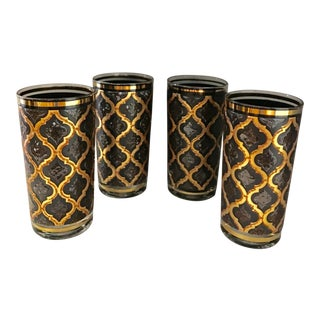 Mid-Century Modern Bronze & Brown Tumblers - Set of 4 For Sale