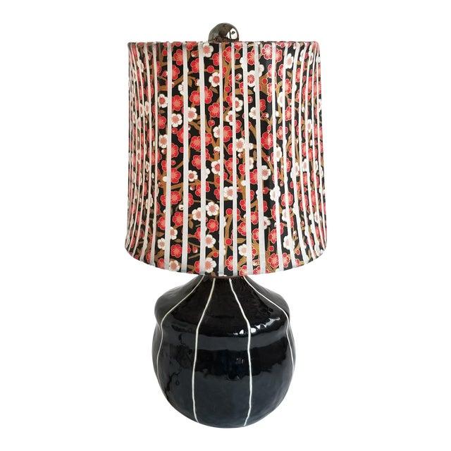 Contemporary Black Ceramic Table Lamp For Sale