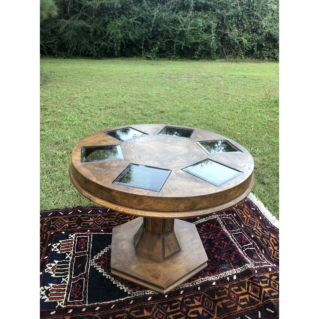 Mid Century Burlwood Pedestal Table With Inset Smoked Glass For Sale - Image 10 of 12