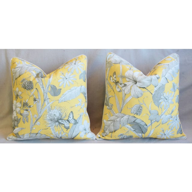 "Feather Designer English Floral & Nature Linen/Velvet Feather & Down Pillows 24"" Square - Pair For Sale - Image 7 of 13"