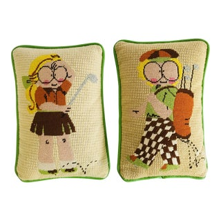 Vintage 70's Needlepoint Crewel Small Pillows Kids Golf players - A Pair