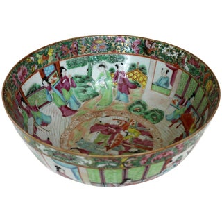 Chinese Export Rose Medallion Punch Bowl For Sale