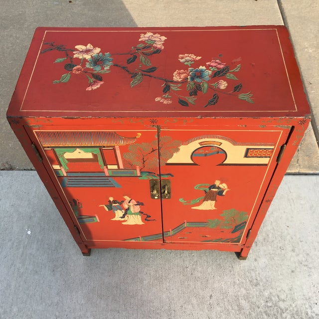Early 20th Century Chinoiserie Hand Painted Cabinet For Sale - Image 9 of 13