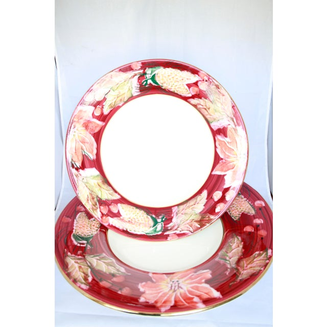 Ceramic Italian Porcelain Poinsettia Holiday Serving Bowl and Plate For Sale - Image 7 of 11