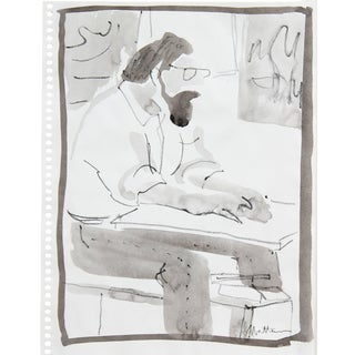 Rip Matteson Seated Man With a Beard, Ink Wash Drawing, 20th Century For Sale