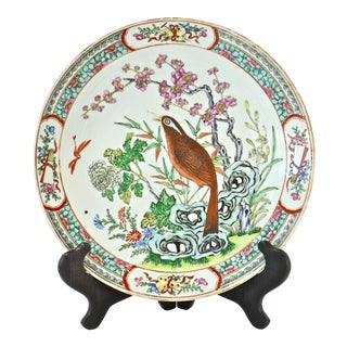 Antique Chinese Bird Charger W/ Stand