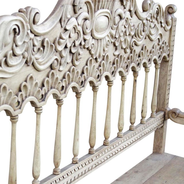 Spanish Colonial Carved High Back Bench For Sale - Image 5 of 5