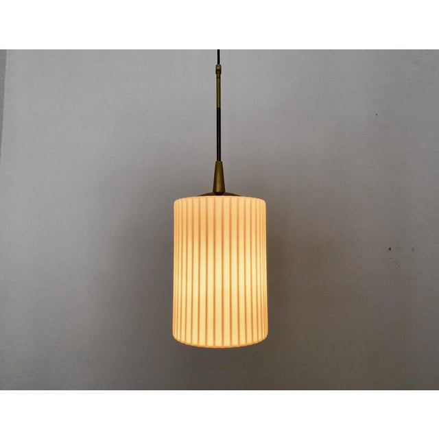 White Mid-Century Modern Opaline Glass and Brass Pendant Lamp For Sale - Image 8 of 11