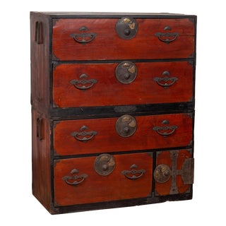 Japanese Meiji Period Two-Part Tansu Clothing Chest with Butterfly Motifs For Sale