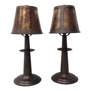 Pair of Copper and Mica Table Lamps For Sale
