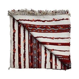 Moroccan Orange & Cream Berber Blanket For Sale