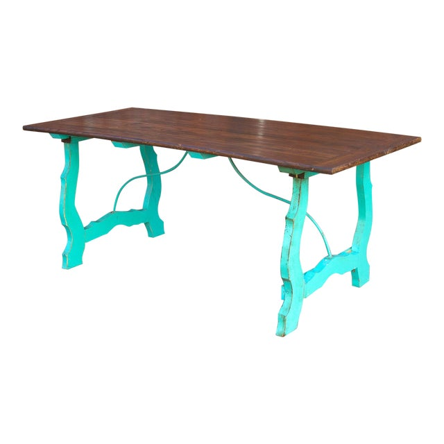 Vibrant Spanish Colonial Dining Table For Sale