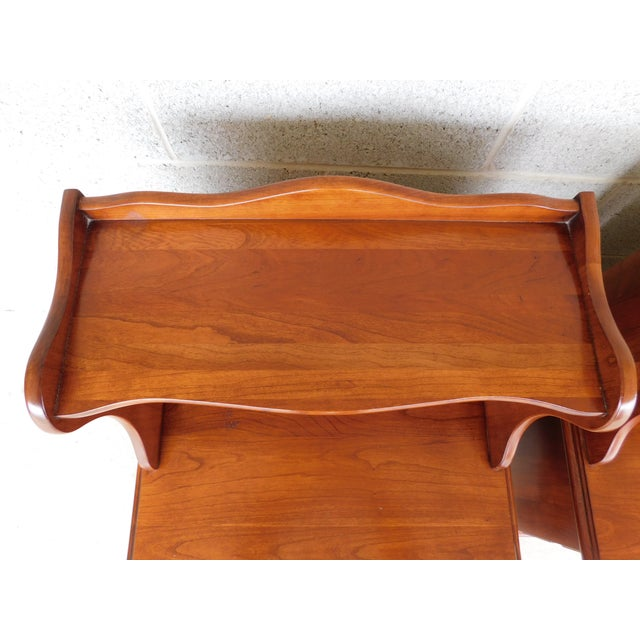 Red Henkel Harris Chippendale Style Cherry Nightstands - a Pair For Sale - Image 8 of 11