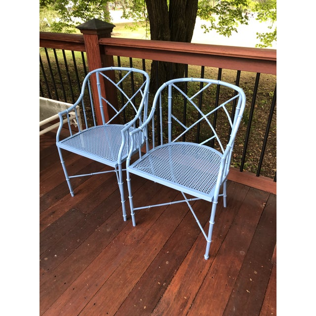 Blue 1970s Vintage Cast Aluminum Chinese Chippendale Faux Bamboo Barrel Chairs- A Pair For Sale - Image 8 of 13