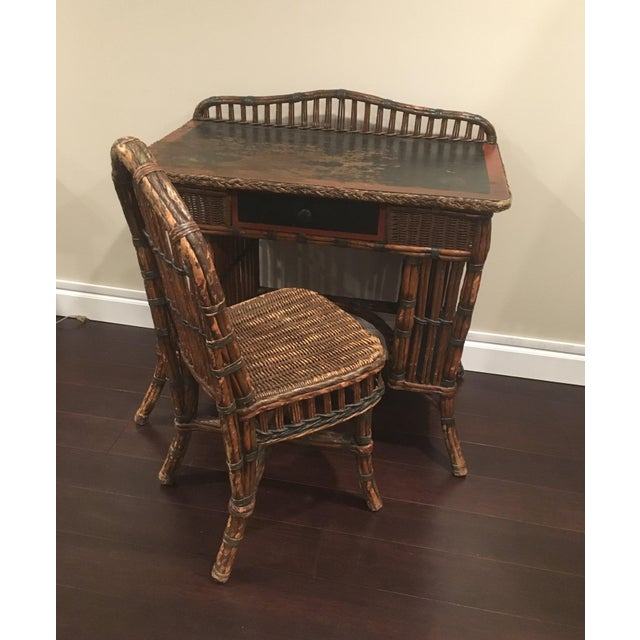 Antique Wicker Desk And Chair For Image 13 Of