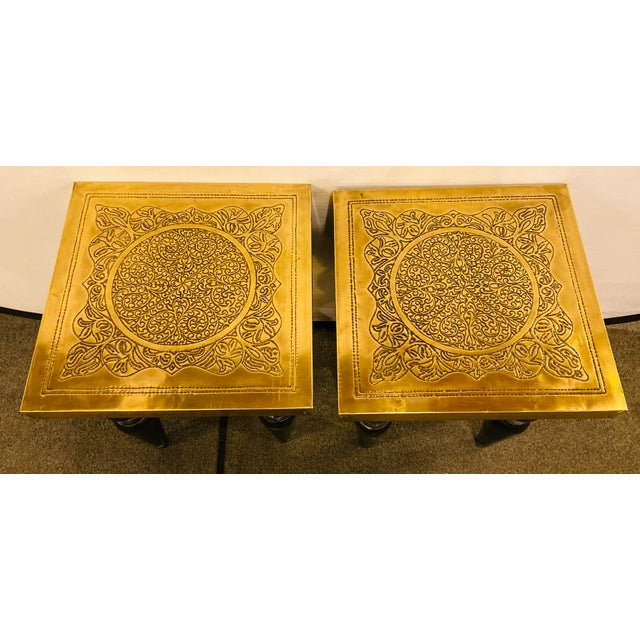 Moroccan Moroccan End Tables in Fine Gold Brass & Carved Legs - a Pair For Sale - Image 3 of 13