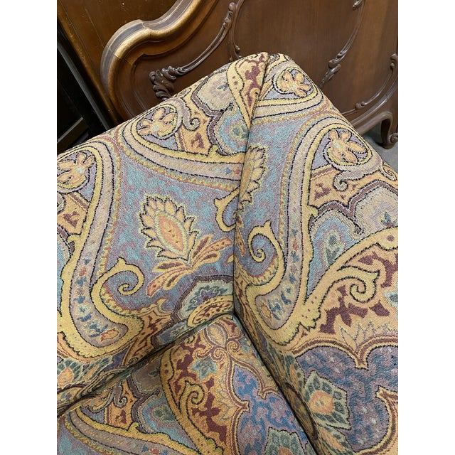 1990s Vintage Italian Etro Paisley Tapestry Fabric Sofa For Sale - Image 10 of 12