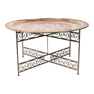 Handcrafted Moroccan Round Copper Tray Table on Iron Base For Sale