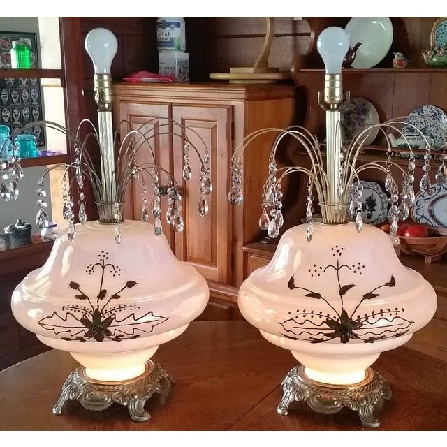 What a beautiful and unique pair of matching mid century Hollywood Regency white opalescent Carl Falkenstein table lamps...