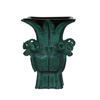 Chinese Oriental Green Bronze-ware Home Decor Display Small