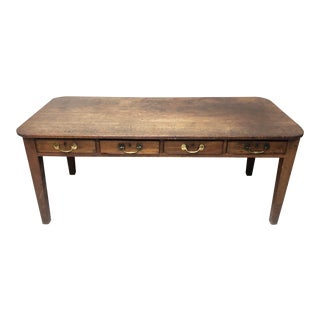 1830's Antique Walnut Top Farm Table / Island With 4 Drawers For Sale