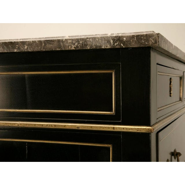 Antique French Louis XVI Ebonized Mahogany & Marble Commode For Sale - Image 9 of 10