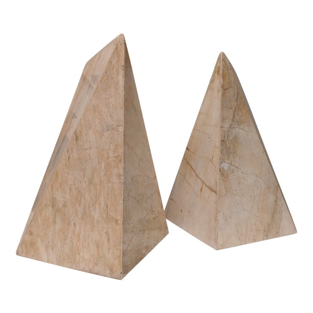 Geometric Marble Sculptures, a Pair For Sale