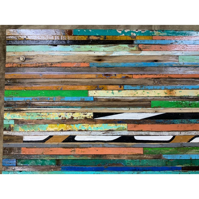 Wood Abstract Reclaimed Wood Wall Sculpture For Sale - Image 7 of 13
