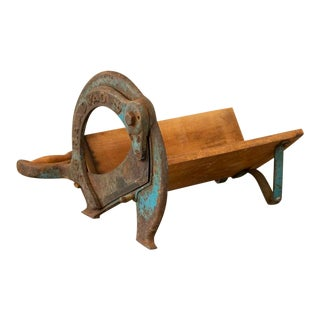 Vintage Raadvad Danish Bread Cutter With Rustic Faded Blue Paint For Sale