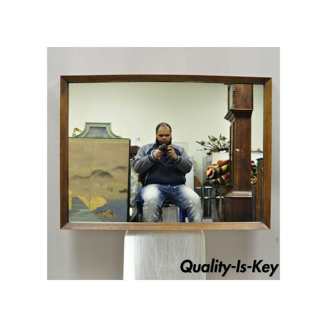 Vintage Mid Century Modernist Walnut Rectangular Wall Dresser Deep Frame Mirror For Sale - Image 11 of 11