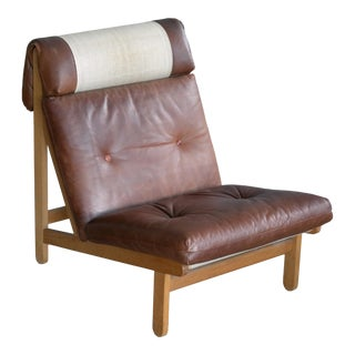 "Danish ""Rag"" Easy Lounge Chairs in Oak and Leather by Bernt Petersen For Sale"