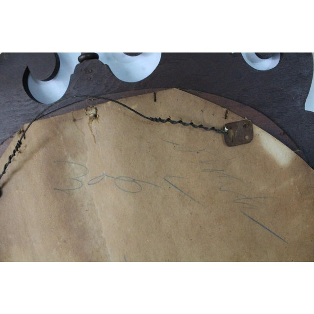 Brown 1940s Art Nouveau Acorn Finial Scroll Mirror For Sale - Image 8 of 9