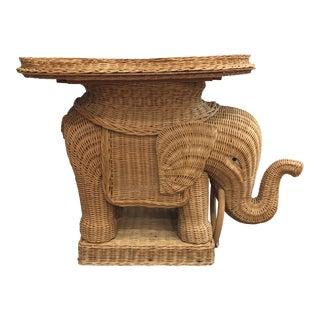 Vintage Rattan Woven Elephant Side Table