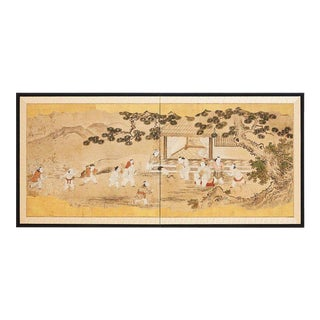 Japanese Two-Panel Kano School Meiji Period Screen For Sale