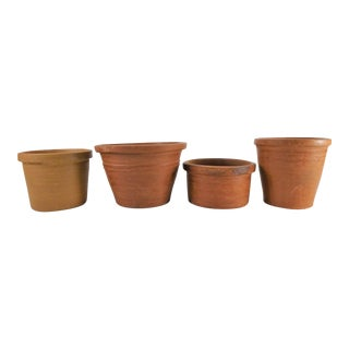 Boho Chic Handmade Terra Cotta Flower Pot Planters - Set of 4 For Sale