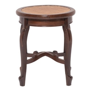 Chinese en Pointe Oval Woven Top Stool For Sale