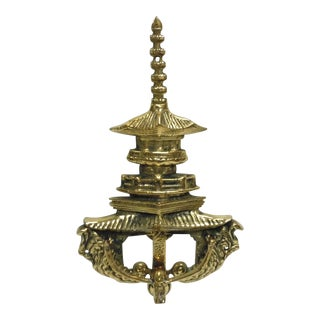Korean Pagoda Brass Door Knocker For Sale