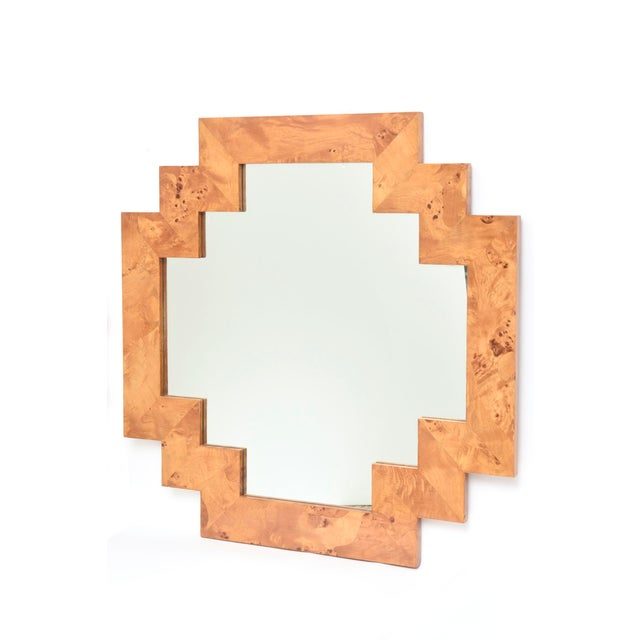 This sculptural and restored vintage Italian burled wood mirror is very geometric and a great size for your wall or above...