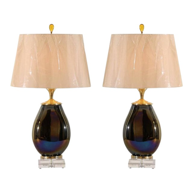 Mesmerizing Pair of Iridescent Blown Glass Lamps with Brass and Lucite Accents For Sale