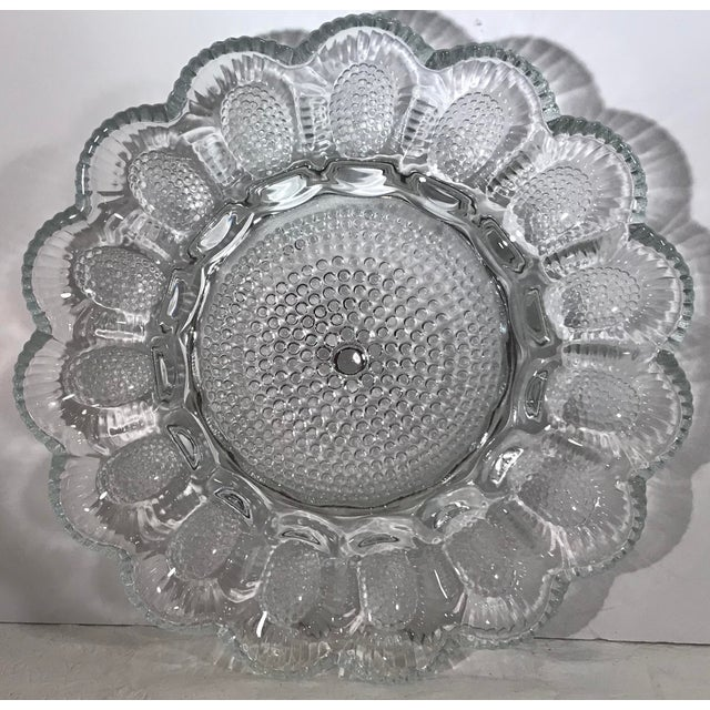 Glass Vintage Clear Patterned Glass Egg Plate For Sale - Image 7 of 7