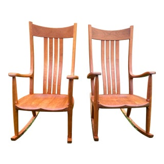 Contemporary Gary Weeks Handcrafted Solid Cherrywood Rocking Chairs - a Pair For Sale